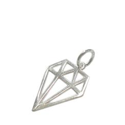 925 Silber Schmuckanhänger in grafischer Diamantenform, flach