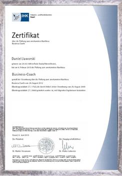 Zertifikat zum Businesscoach