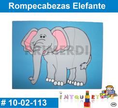 Rompezabezas Elefante MATERIAL DIDACTICO MADERA INTQUIETOYS PRIMERDI