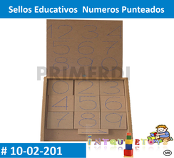 Sellos Educativos  Numeros Punteados MATERIAL DIDACTICO MADERA INTQUIETOYS PRIMERDI