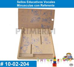 Sellos Educativos Vocales Minusculas con Referente MATERIAL DIDACTICO MADERA INTQUIETOYS PRIMERDI