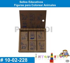 Sellos Educativos Figuras para Colorear Animales MATERIAL DIDACTICO MADERA INTQUIETOYS PRIMERDI