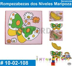 Rompezabezas dos Ni Maripoza MATERIAL DIDACTICO MADERA INTQUIETOYS PRIMERDI