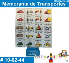 Memoramas Español Ingles de transportes Material didactico Madera PRIMERDI INTQUIETOYS