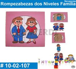 Rompezabezas dos Niveles Familia MATERIAL DIDACTICO MADERA INTQUIETOYS PRIMERDI