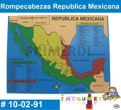 Rompecabezas Republica Mexicana MATERIAL DIDACTICO MADERA INTQUIETOYS PRIMERDI
