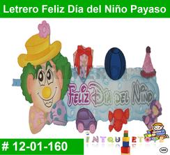Letrero Feliz Día del Niño Payaso MATERIAL DIDACTICO FOAMY  INTQUIETOYS PRIMERDI