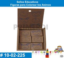 Sellos Educativos Figuras para Colorear los Animos MATERIAL DIDACTICO MADERA INTQUIETOYS PRIMERDI