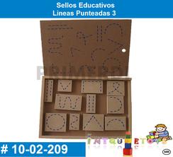 Sellos Educativos Lineas Punteadas 3 MATERIAL DIDACTICO MADERA INTQUIETOYS PRIMERDI