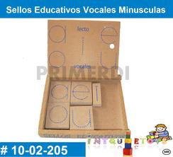 Sellos Educativos Vocales Minusculas MATERIAL DIDACTICO MADERA INTQUIETOYS PRIMERDI