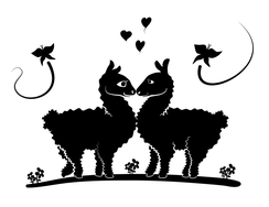 Wandtattoo Wandaufkleber Wandsticker günstig online kaufen  Lama Alpaka Kinderzimmer Tiere