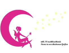 Wandtattoo Wandaufkleber Wandsticker günstig online kaufen  Mädchen Fee Mond Leuchtsterne Sterne Kinderzimmer Zimmer Mädchenzimmer