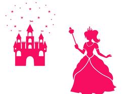 Wandtattoo Wandaufkleber Wandsticker günstig online kaufen  Mädchenzimmer Mädchen Zimmer Kinderzimmer Baby Kind  Prinzessin Sterne Schloss