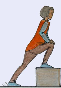 Zeichnung einer Frau die das Bein auf einer Stufe hat und die beschriebene Übung macht