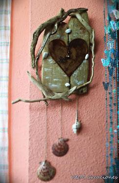 reloj corazón, madera de mar, madera, corazón, driftwood clock, driftwood, driftwood art, heart, wood, reloj deriva, vymcreaciones, vymcreaciones.com