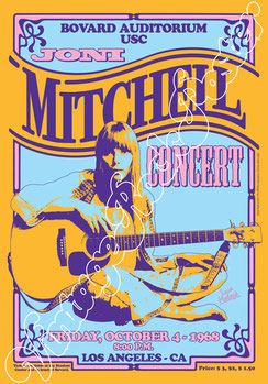 Joni Mitchell, Joni Mitchell poster, Los Angeles, Bovard Auditorium USC, 4 october 1968, 4/8/1968, folk music