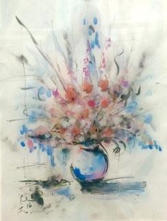 Hamida Sager, fiori (tecnica mista)