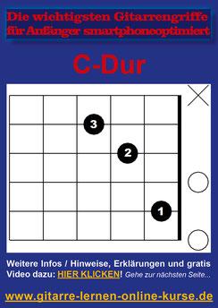 Beispielseite aus dem PDF (C-Dur-Akkord/Gitarrengriff)