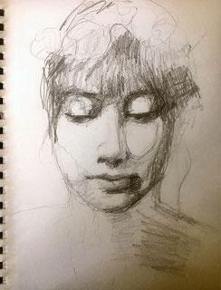 expressive Bleistift-Zeichnung Gesicht Frau