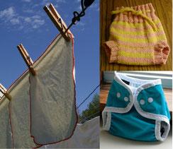 couches lavables de nos grands-mères: lange à plier et culottes de protection (en laine et en PUL)