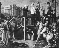 Mort de Louis XVI. (Source : Wikimedia. Auteur Unbekannter Stich.Autrorisation PD Old.)