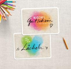 """""""Kuschel-Gutschein + Lächeln"""" 2er Set Grußkarten"""