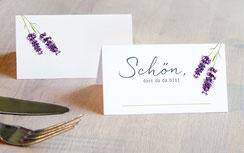 Tischkarten lavendel weiss, hochzeit, partyspiel