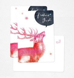 Postkarte frohes fest hirsch