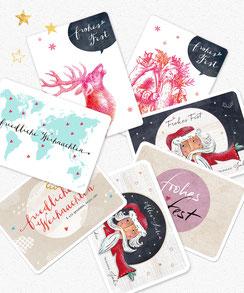 Postkarte weihnachtskarten 14er set