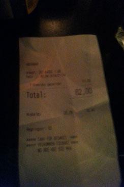 Ein Bier: 82 NOK (damals ca. 9 Euro)