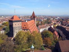 Burg Nürnberg, reichsstädtische Bauten und Fünfeckturm