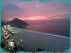 Copacabana beach at sunrise. Leme is at the back, near the hill.