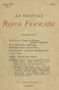 Chansons des Royaumes du Livre des Vers, traduites par Louis LALOY (1874-1944) La Nouvelle Revue Française, 1909, n° 7 à 9. Couverture