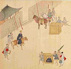 琉球士族の外出風景。上級士族は馬や駕籠に乗って、武器を携えた従者を従えた。従者の数は身分別に決まっていた(「琉球全図」、故宮博物院蔵)。