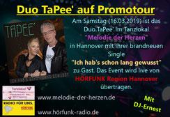 Duo TaPee am 16.03.2019 auf Promo-Tour im Tanzlokal Melodie der Herzen in Hannover mit Liveübertragung von Hörfunk Region Hannover