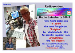 """Radiosendung """"Peers Schlagersterne"""" auf radio leinehertz 106.5 am 19.03.2019 von 22 - 23 Uhr mit Interviewgast Mariella Milana"""