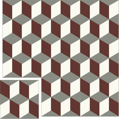 Carreaux de ciment Floorilège - Motif cube CU2