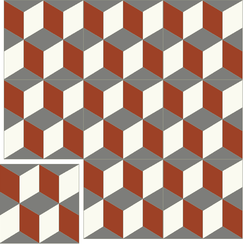 Carreaux de ciment Floorilège - Motif cube CU1