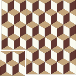 Carreaux de ciment Floorilège - Motif cube CU4