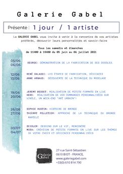 Evènement artistique: rencontre avec les artistes, dialogue, dédicaces, explications techniques, ambiance conviviale, Galerie Gabel, Biot