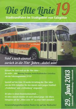"""Der Flyer zur Veranstaltung """"Die Alte Linie 19"""""""