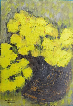Yellow flower   22.7×15.8cm Oil on canvas   Private collection
