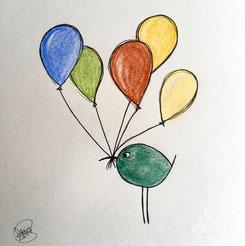 Piepmatz mit Luftballons, Illustration von silvanillion