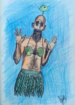 Zeichnung, Illustration Rick The Muse, ein Mann mit Muschel-Blätter-Bikini und Piepmatz auf dem Kopf