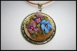 Schmuckanhänger mit verschieden farbige Blumen Kettenanhänger Anhänger