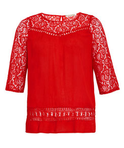 rote Damen Tunika, elegantes T-Shirt mit Strassperlen und formschönem Ausschnitt in großen Größen