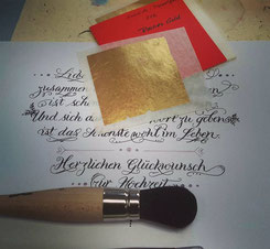 Kalligrafie zur Hochzeit mit Echtgoldvergoldung