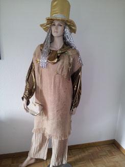 Kostüm-VERGOLDET, Oberteil Gr.ca.L, Fr.19.-,Zylinder mit SilberhaarFr.7.-
