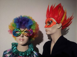 Perücken Fr. 4.-/6.-, Masken Fr. 2.-/6.-