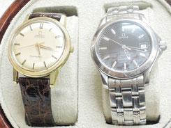 オーバーホールやゼンマイ交換など、修理中の「オメガ」腕時計2本